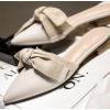 大叔家2019新款韩版尖头蝴蝶结低跟凉拖鞋女包头平跟无后跟穆勒鞋