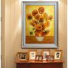 手绘油画梵高向日葵三联客厅挂画卧室餐厅壁画欧式花卉手工装饰画